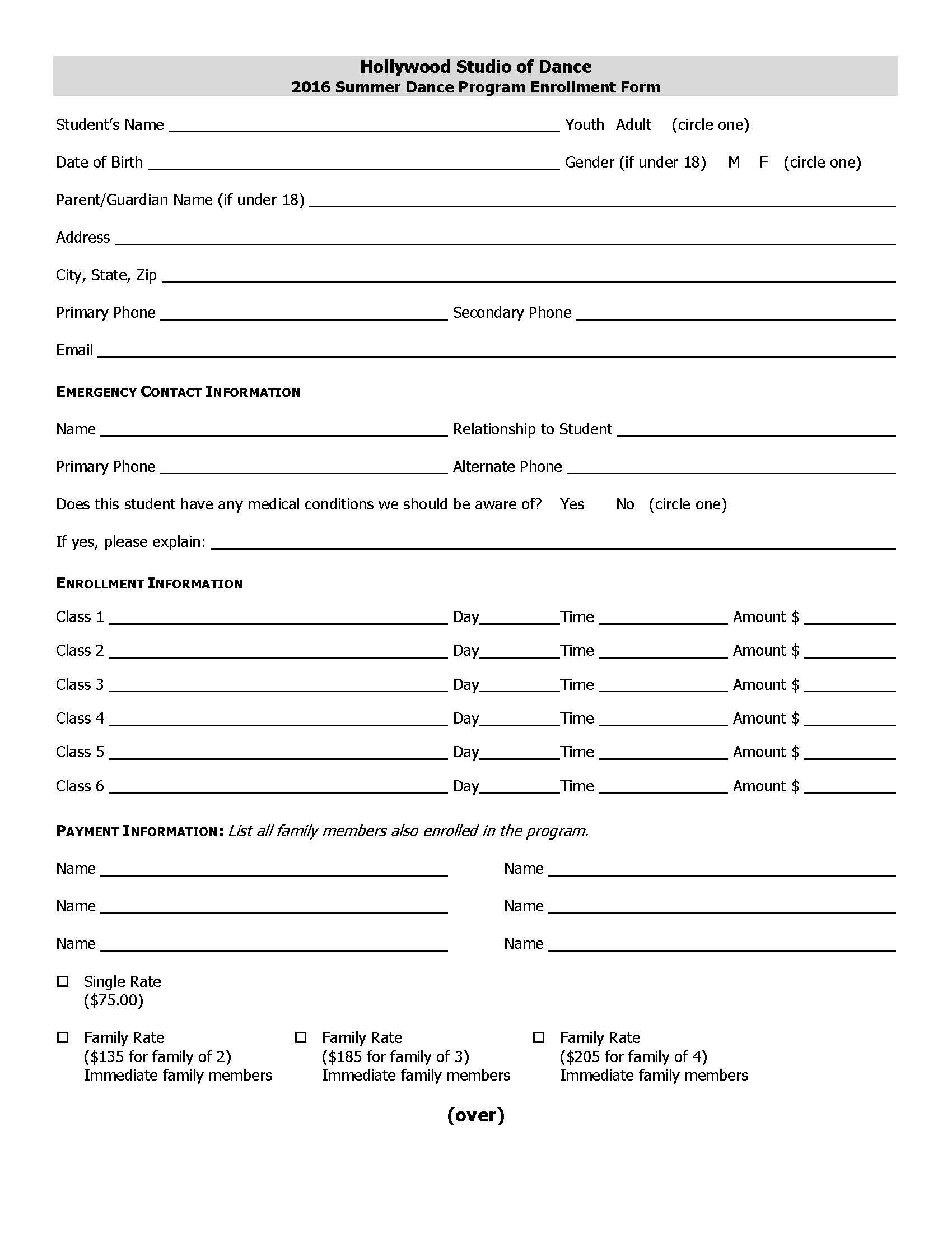 Summer Enrollment Form | Business website